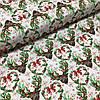 Ткань польская хлопковая, олени с зелеными рождественскими сердечками