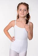 Белый детский купальник-боди для танцев