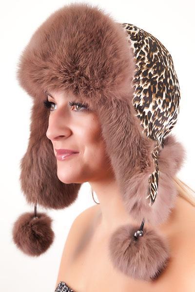 Женская ушанка из меха кролика Ку-005  Капучино  леопардовый принт