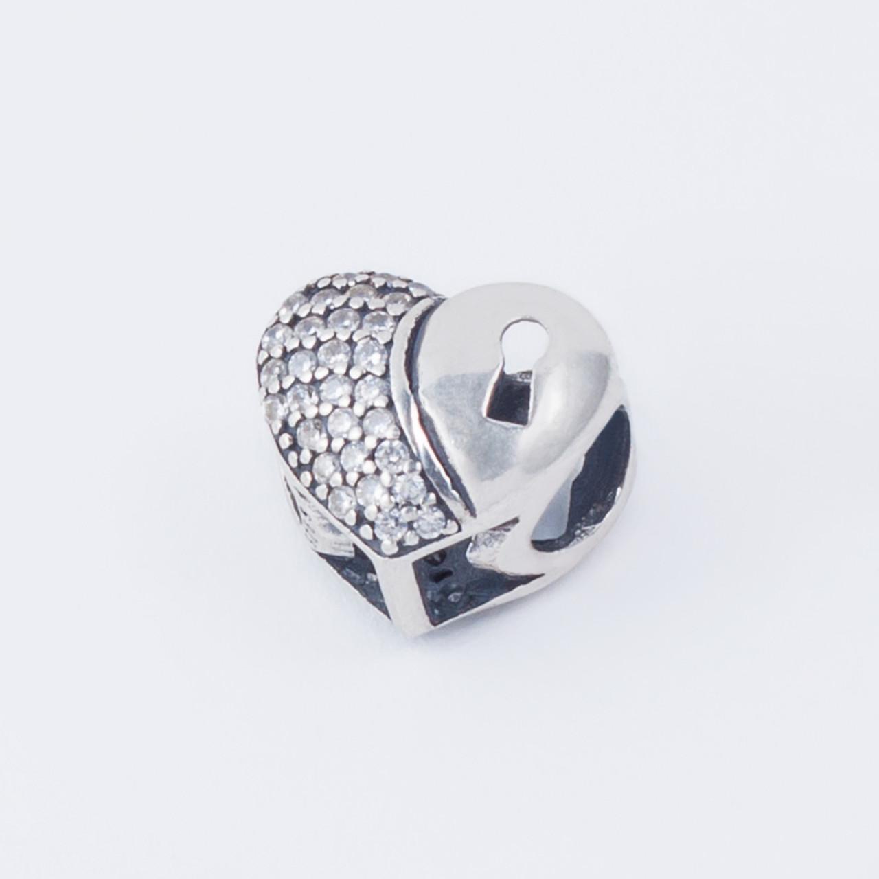 """Срібний шарм (намистина) """"Серце під замком"""" в стилі Pandora (Пандора) з камінням"""