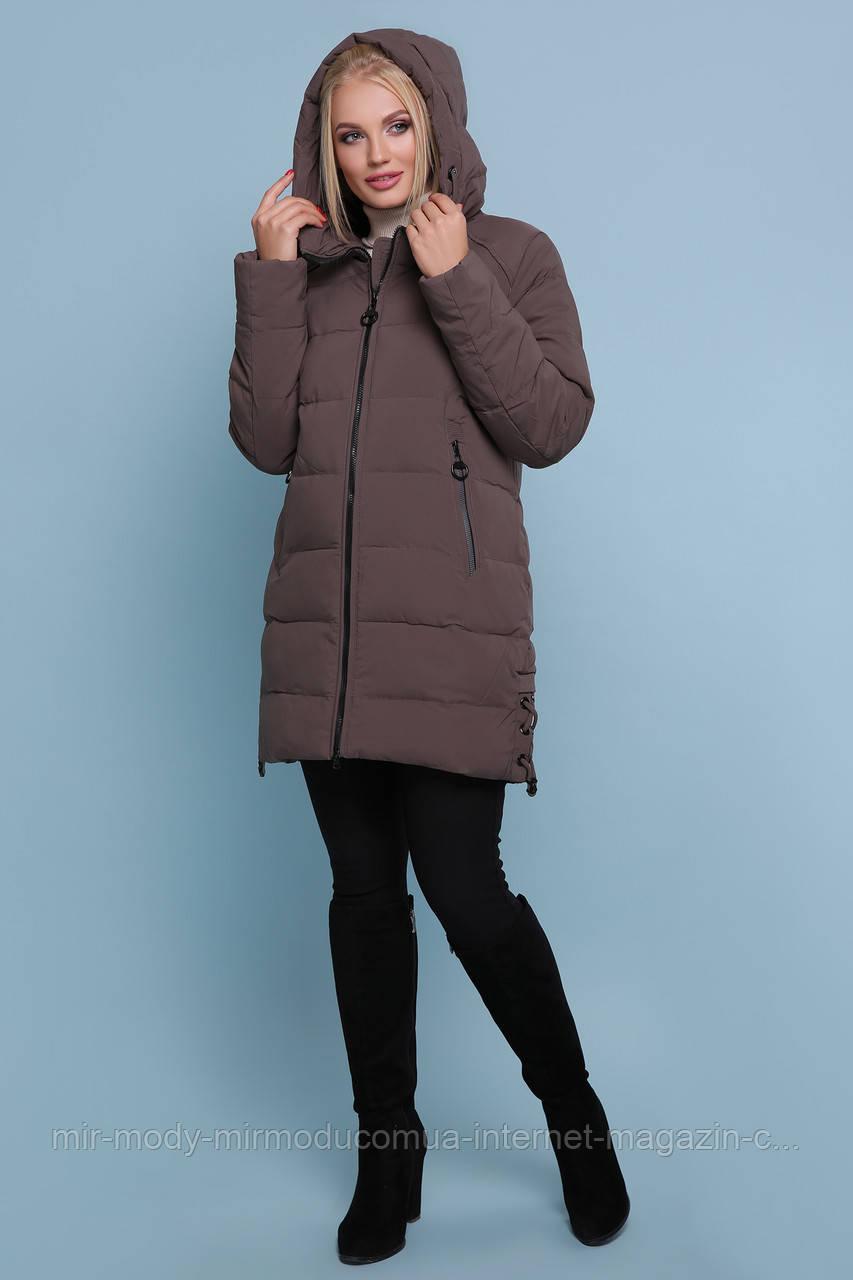 Куртка 18-051-Б. Цвет: коричневый ЗИМА размеры баталл (50-60)  (гм)