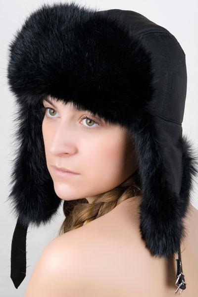 Женская ушанка из меха кролика Ку-011 Черный