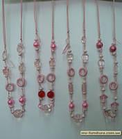 Бусы веревка №102 ЭКС пластмасса+стекло розовый