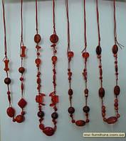 Бусы веревка №103 ЭКС пластмасса+стекло красный