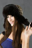 Женская ушанка из меха кролика   Ку-004  Черный леопардовый принт