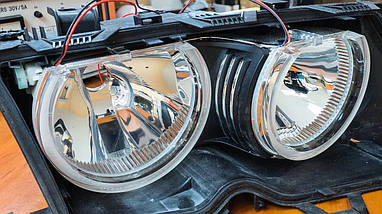 Ангельские глазки crystal angel eyes LED для BMW E38 белый+желтый, фото 2
