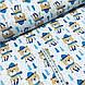 Ткань польская хлопковая, мишки в синих шарфиках на синих лыжах на белом, фото 2