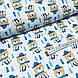 Ткань польская хлопковая, мишки в синих шарфиках на синих лыжах на белом, фото 3