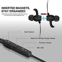 Магнитные Bluetooth наушники беспроводные 4.1 с микрофоном, фото 2