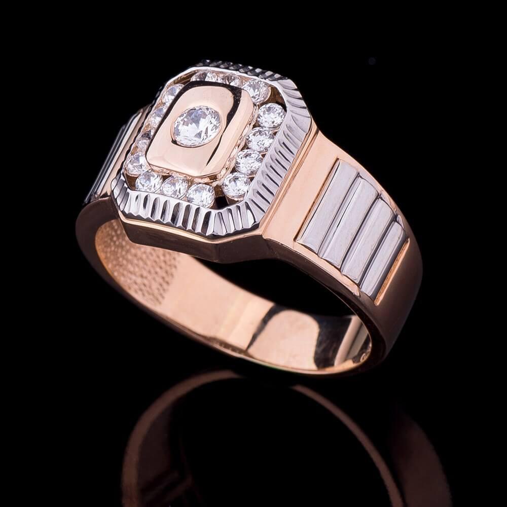 Золота чоловіча печатка з фіанітами гк02998