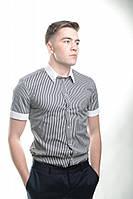 Рубашка в полоску с белой отделкой, фото 1