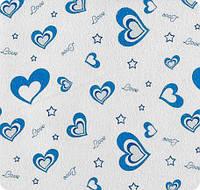Постельное Сердечки синие фланель полуторное