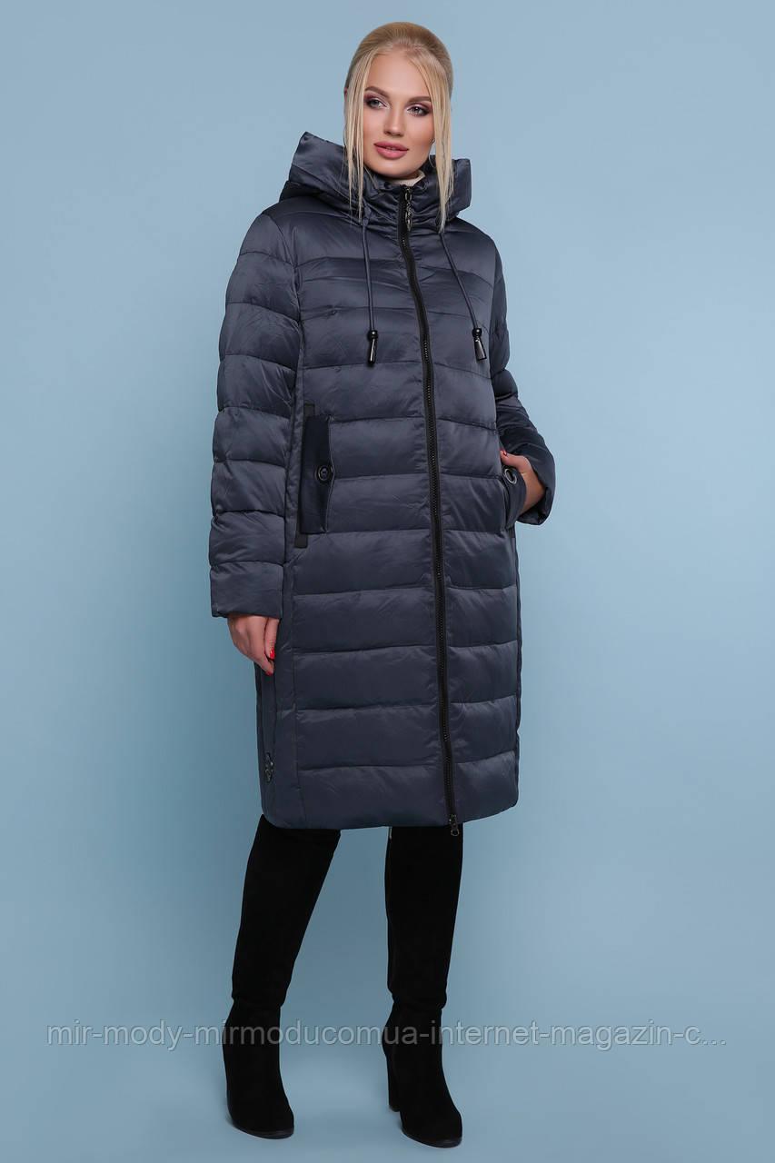 Куртка 18-197-Б. Цвет:серо-синий ЗИМА размеры баталл (50-60)  (гм)