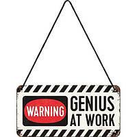"""Вывеска на шнурке """"Genius at Work"""" /10х20 см"""
