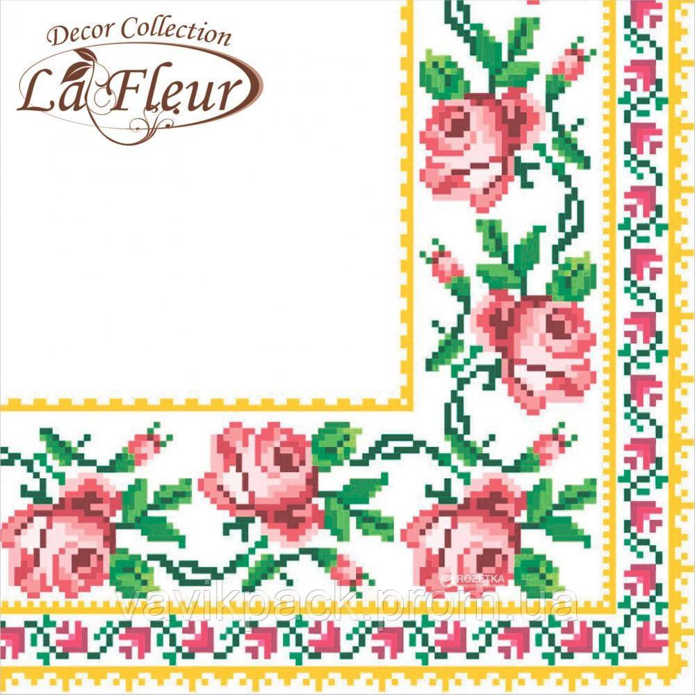 """Столовые салфетки ТМ """"La Fleur""""  Вышитая роза"""