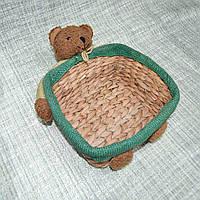 Корзинка для рукоделия 22х22 см соломенная с мишкой (42006.001)