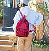 Рюкзак женский городской бархатный Красный, фото 2