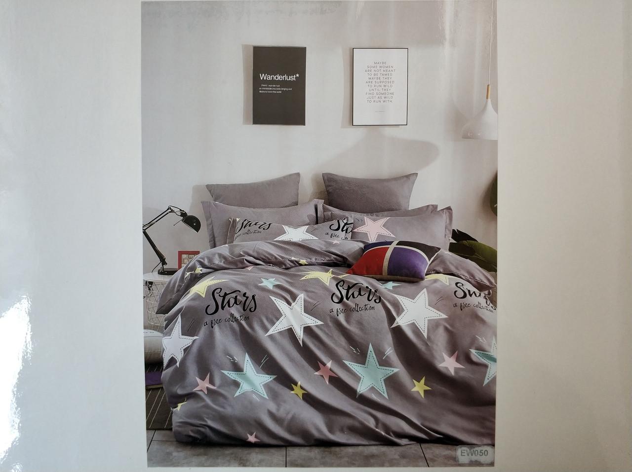 Постельное белье полисатин двуспальный евро ELWAY EW050