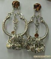 Гвоздик декор серебро  №2 камень желтый этник