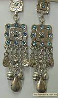 Гвоздик декор серебро  №3 камень голубой  этник