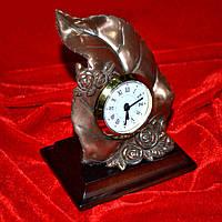 Часы настольные латунные лист с розочками (44003.003)