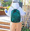 Рюкзак женский городской бархатный Зеленый, фото 2