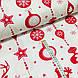 Ткань хлопковая новогодняя, длинные красные игрушки на белом, фото 2