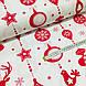 Ткань хлопковая новогодняя, длинные красные игрушки на белом, фото 3
