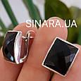 Серебряный комплект: серьги, кольцо и кулон с черным квадратным камнем, фото 2