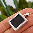 Серебряный комплект: серьги, кольцо и кулон с черным квадратным камнем, фото 7