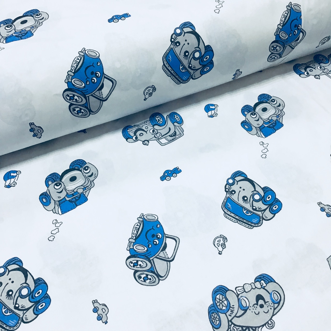 Ткань польская хлопковая Люкс, машинки сине-серые на белом