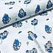 Ткань польская хлопковая Люкс, машинки сине-серые на белом, фото 2