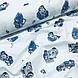 Ткань польская хлопковая Люкс, машинки сине-серые на белом, фото 4
