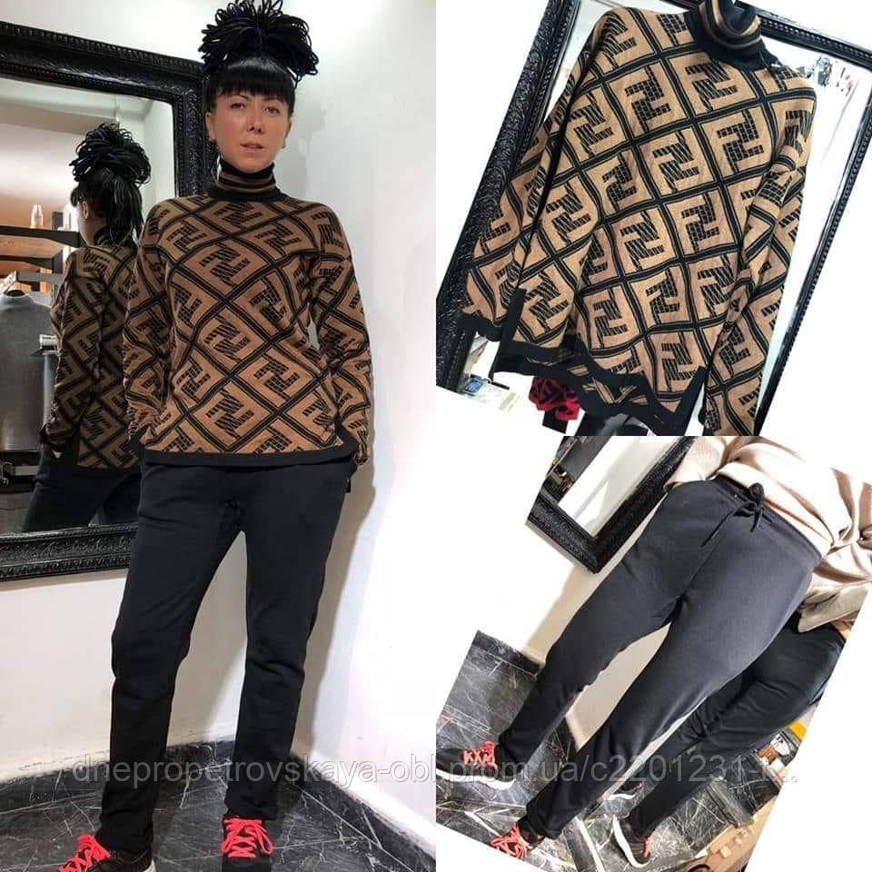 Теплый свитер Fendi бренд Турция люкс