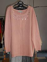 Нарядный пудрово-розовый свитер со стразами батальный Mate Kelli, фото 1