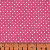 Ткань в мелкий горошек, Цвет - Средний Розовый, Розовая Примула, № dot-mid pink-1, хлопок 100%