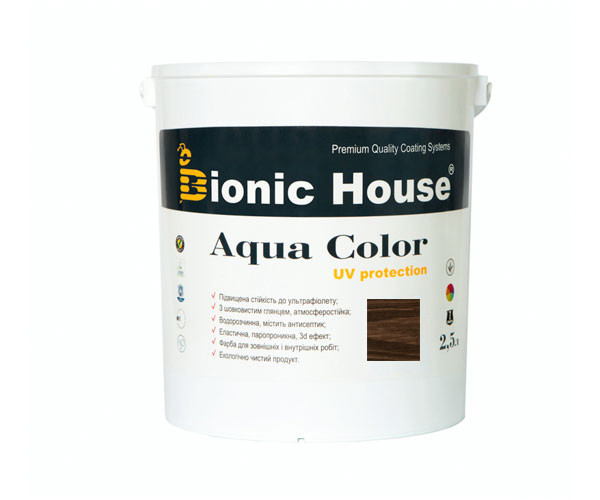 Краска для дерева Bionic-House Aqua Color UV-protect 2,5л Палисандр А111