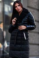 Женское зимнее пальто из экокожи