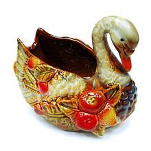 Керамическая конфетница Лебедь настольная