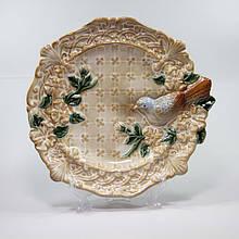 Конфетница Тарелка с птицей керамическая