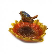 Керамическая конфетница Цветок с птичкой