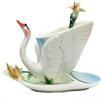 Фарфоровый набор Лебедь чашка с блюдцем