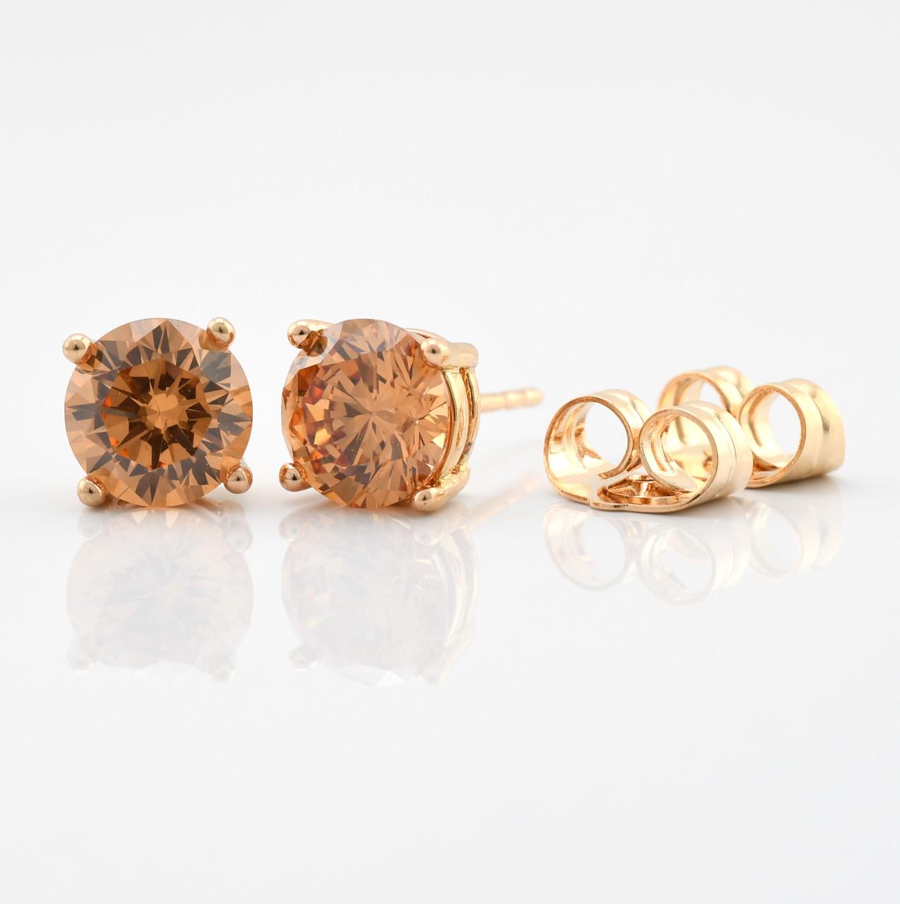Серьги-гвоздики 21733, размер 7*7 мм, фианиты цвета шампань, позолота 18К