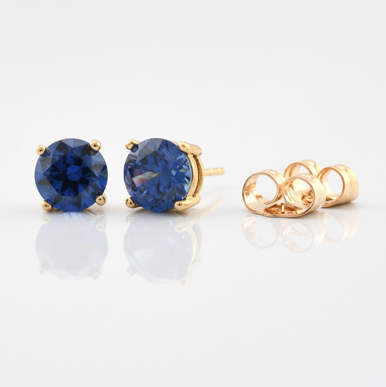 Серьги-гвоздики 21733, размер 7*7 мм, синие фианиты, позолота 18К