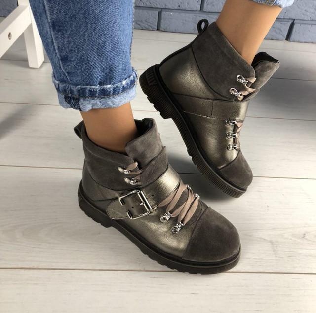 3c8ee42a5c77 Зимние кожаные женские ботинки полусапожки на низком ходу высокая подошва  ...