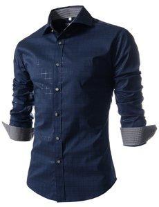 Приталенная мужская рубашка с длинным рукавом код 70 темно - синяя