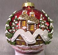 """Стеклянный шар 85 мм """"Храм зимой"""", фото 1"""