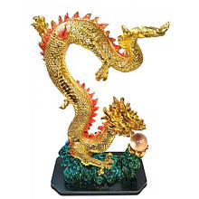 Статуэтка Дракон золотой с хрустальной жемчужиной каменная крошка