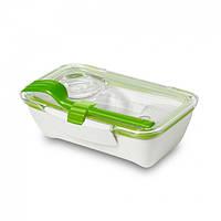 Ланчбокс прямоугольный Bento Box Black+Blum (белый-зеленый), фото 1