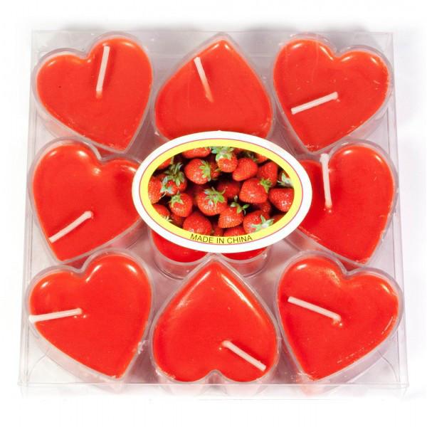 Набор свечей Сердечки красный